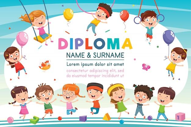 Certificato di diploma per bambini della scuola elementare prescolare