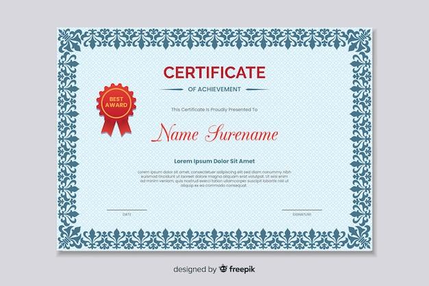 Certificato di istruzione piatto di successo
