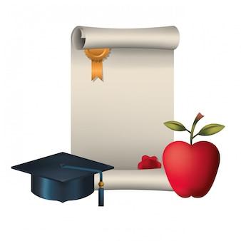 Certificato di laurea con cappello e mela