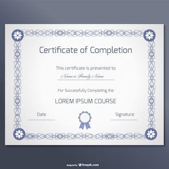 Certificato di libero disegno vettoriale