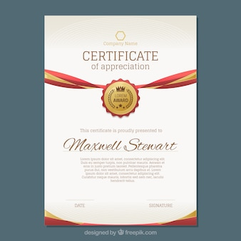 Certificato di lusso con oro e rosso dettagli