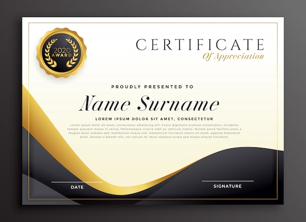 Certificato di lusso del modello di apprezzamento