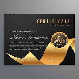 Certificato di lusso di diploma con il nastro dorato