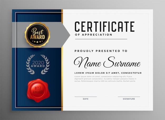 Certificato di modello di apprezzamento aziendale professionale