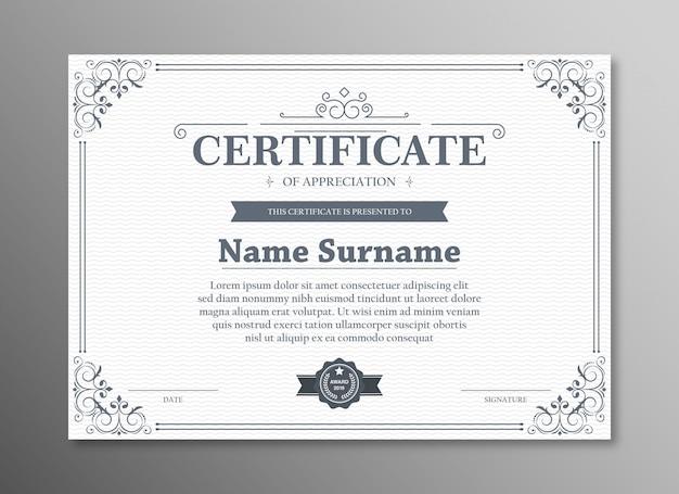 Certificato di modello di apprezzamento con bordo nero vintage