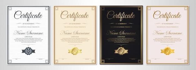 Certificato di modello di apprezzamento con bordo oro vintage