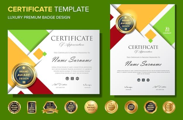 Certificato di modello di sfondo di apprezzamento con distintivo
