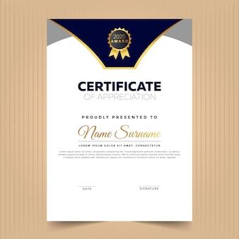 Certificato di progettazione del modello di successo con colore blu