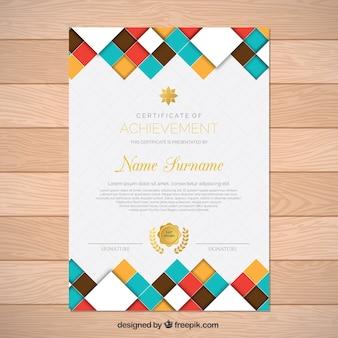 Certificato di realizzazione di forme colorate