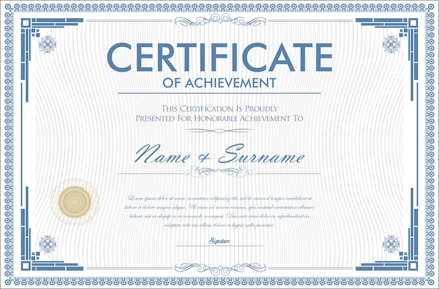 Certificato di realizzazione modello di design retrò
