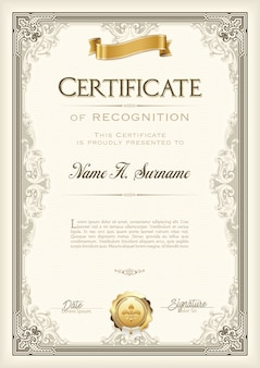 Certificato di riconoscimento cornice d'epoca con nastro d'oro. ritratto.