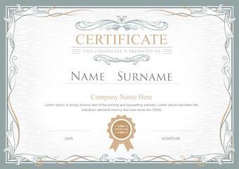 Certificato di successo fiorisce elegante templa vettoriale vintage