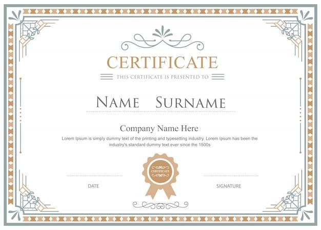 Certificato fiorisce elegante modello vintage vettoriale