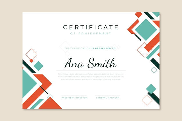 Certificato geometrico moderno astratto
