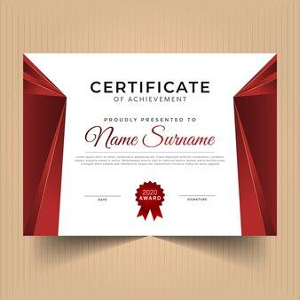 Certificato in oro e rosso del modello di realizzazione