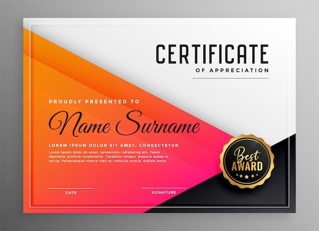 Certificato moderno del modello di apprezzamento