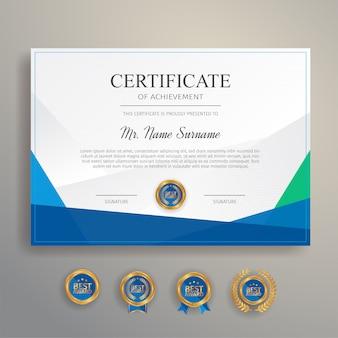 Certificato moderno e semplice in colore blu e verde con badge oro e modello di bordo
