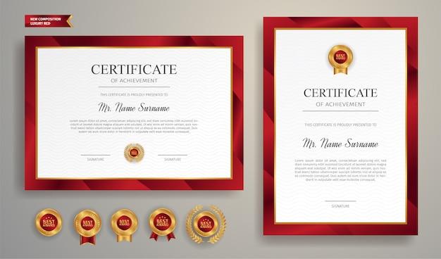 Certificato moderno rosso e oro con badge oro e modello bordo