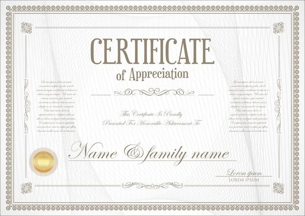 Certificato o diploma design retrò