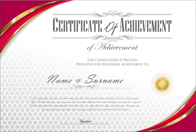 Certificato o diploma retrò vintage modello vettoriale