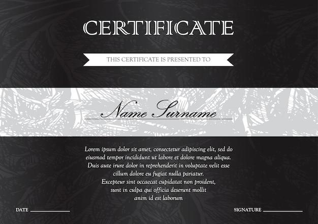 Certificato orizzontale nero scuro e modello di diploma per il vincitore per il conseguimento