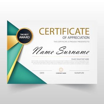 Certificato orizzontale verde elegant con illustrazione vettoriale