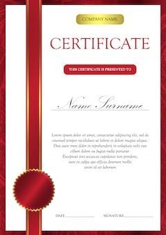 Certificato verticale e modello di diploma per il vincitore per il conseguimento.