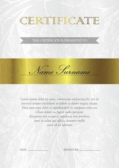 Certificato verticale oro e modello di diploma