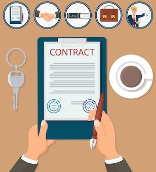Certificazione del contratto di firma dell'illustrazione di vettore