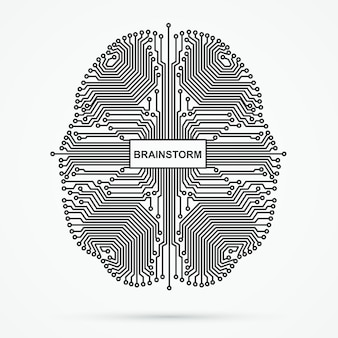 Cervello. brainstorming, tecnologia di pensiero potente.