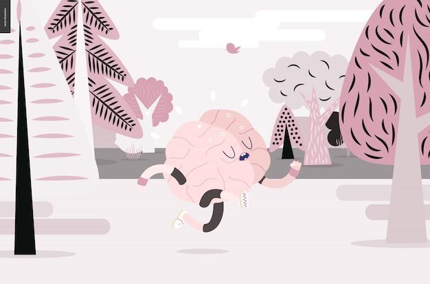 Cervello che corre nella foresta