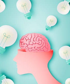 Cervello con il concetto di idea in stile arte carta