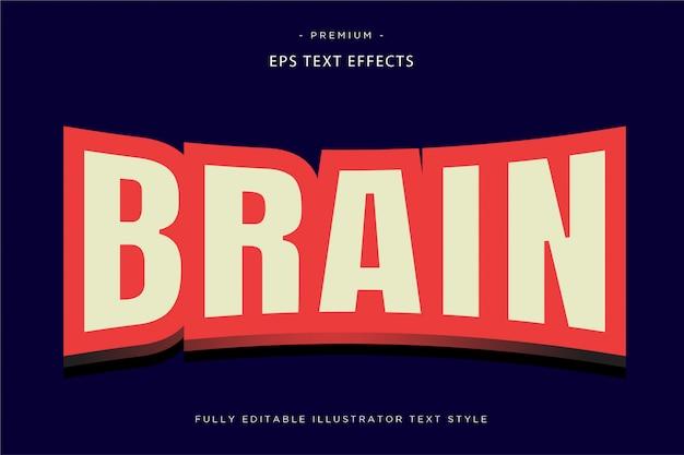 Cervello mascotte effetto testo cervello stile di testo