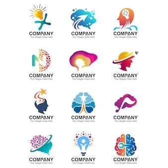 Cervello, mente creativa, modello di logo di educazione, icone di logo idea intelligente, set di simboli di scienza