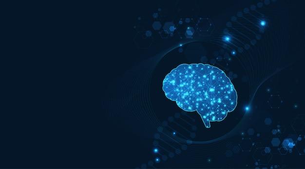 Cervello realizzato con wireframe brillante sopra multiplo su sfondo digitale.