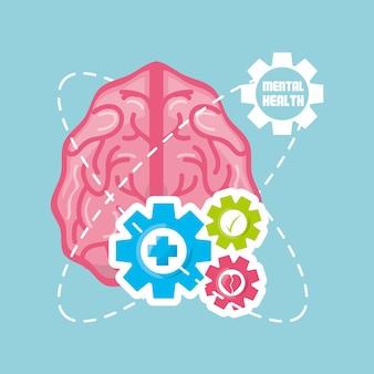 Cervello sano con gli ingranaggi elaborano il lavoro