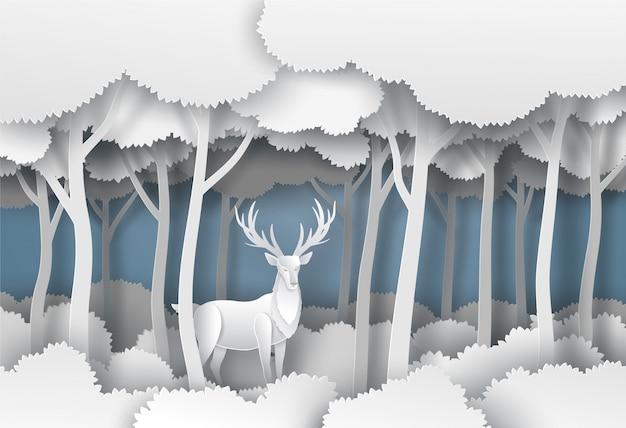 Cervi di corno dignitosi nella foresta della giungla nella stagione invernale. arte dell'illustrazione di vettore nello stile del taglio della carta.