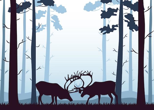 Cervi di sagoma nella foresta
