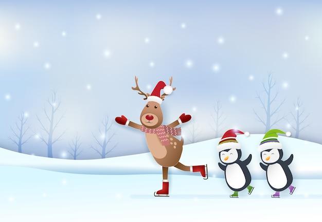 Cervi e pinguini che pattinano nella stagione invernale