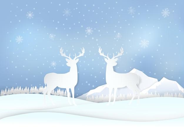 Cervi in campagna e fiocchi di neve, vacanze invernali