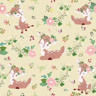 Cervi svegli nel modello senza cuciture del fumetto del giardino floreale.