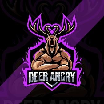 Cervo arrabbiato mascotte logo esport design