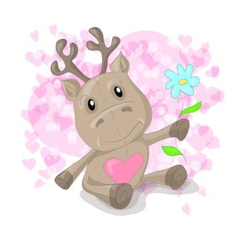 Cervo carino con cartone animato di cuori.