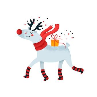 Cervo carino con scatola regalo. carta di buon compleanno