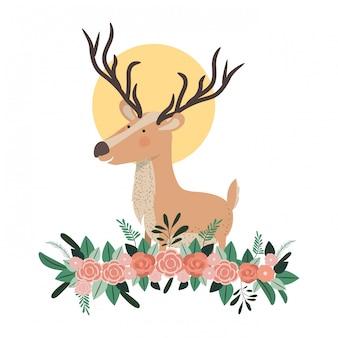 Cervo carino e adorabile con decorazione floreale