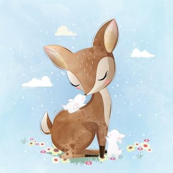 Cervo carino e suoi amici coniglietta