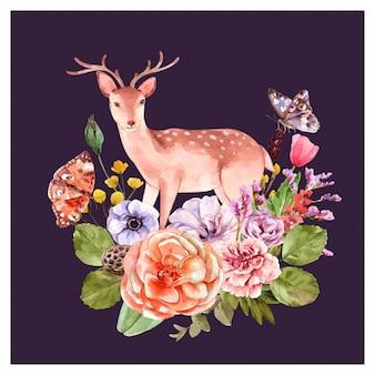 Cervo con decorazione floreale