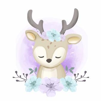 Cervo e bellissimi fiori