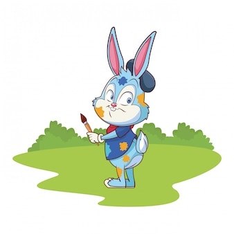 Cespugli svegli del fondo della natura dell'artista della celebrazione del coniglietto di pasqua