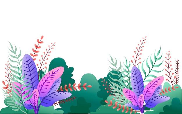 Cespugli verdi e foglie viola. illustrazione del giardino floreale. su sfondo bianco